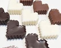Pixel Heart Chocolates. One dozen solid chocolates. Valentines Day.