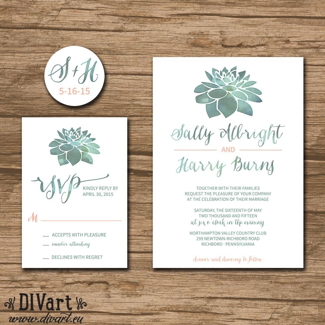 Succulent Wedding Invitation Suite Response Card By DIVart