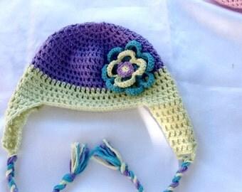 SALE------BABY GIRL hat -crochet flower hat -kids flower hat -handmade baby hat-kids boho hat