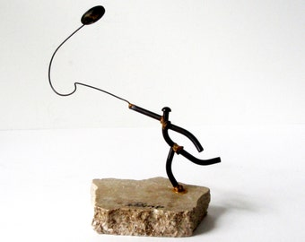 1980 RICH POLDBERG Kinetic Sculpture Welded Iron Moving Discus Thrower Stone Base 7in Artist Signed Dated Minimalist Athlete Sports Field IA