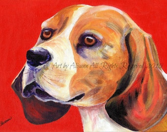 Beagle - Beagle Best in Show -Limited Edition Print- Art Print from original art -  Red Background
