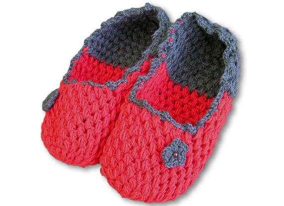Crochet Slippers, Red, Grey Home Shoes, Cozy, Extra Thick Chunky Women Crochet Shoes, Made to Order