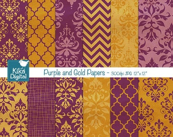 Purple and Gold Damask Digital Papers - Scrapbooking Paper - card design, invitations, stickers, paper crafts, web design - INSTANT DOWNLOAD
