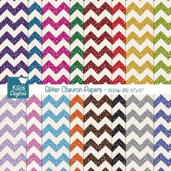 Glitter Chevron Papers - Digital Scrapbooking Papers - card design, invitations, stickers, paper crafts, web design - INSTANT DOWNLOAD
