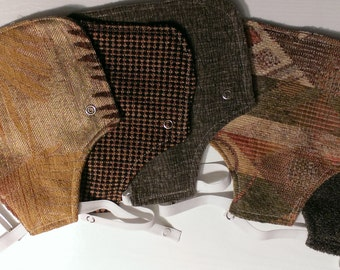 Chicken saddles made of assorted prints of upholstery fabric samples, chicken apron, chicken protector