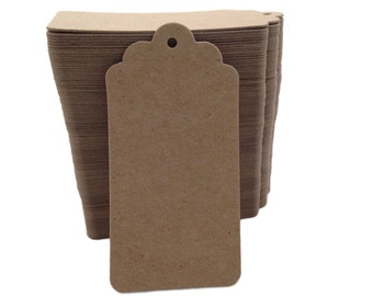 100 Count Tall Kraft Brown Chip board Scalloped Top Hang Tags