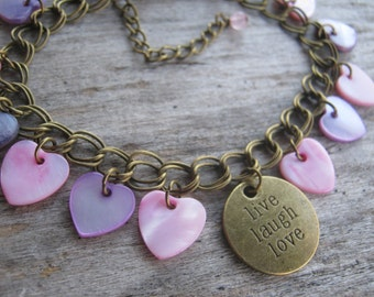 Inspirational Charm Bracelet, Live Laugh Love, Mother of Pearl Shell Bracelet, Meaning Of Life Bracelet, BRONZE, Boho, Pink & Purple Hearts