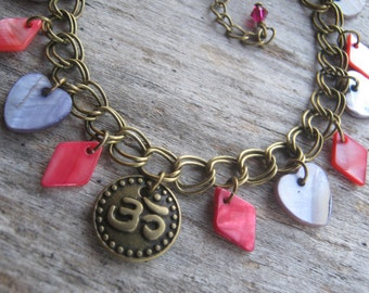 Om Charm Bracelet, Mother of Pearl Shell Bracelet, Buddhist Bracelet, BRONZE, Boho, Purple Hearts, Magenta Red Diamonds, Yoga Jewelry