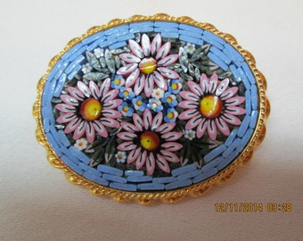 Micromozaic pin from Venice light blue with pink flowers