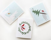 Christmas Cards / Greetings Cards / Holiday Greeting Cards / Let it Snow Cards / Illustrated Holiday Cards