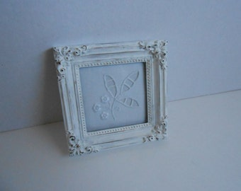 vintage lace embroidery in shabby chic frame