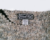 Vintage 70's Ladies Wool Club Cable Melange Sweater S