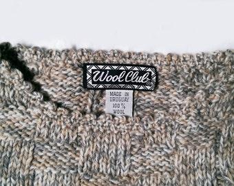 Vintage 70's Ladies Wool Club Cable Melange Sweater S
