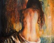 ORIGINAL NUDE  PAINTING by dutch artist Escha van den Bogerd
