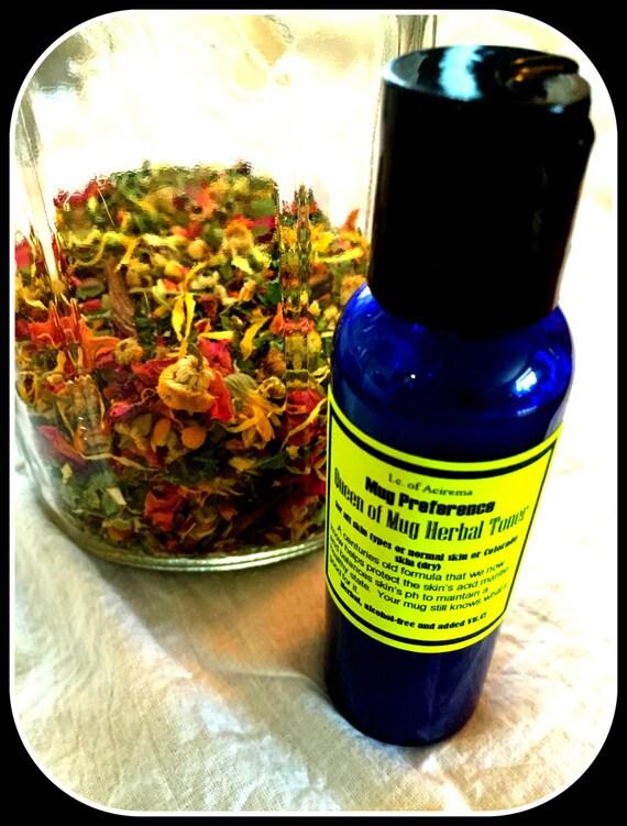 2 oz toner, herbal, mild exfoliator, Mug Preference, Queen of Mug Herbal Toner