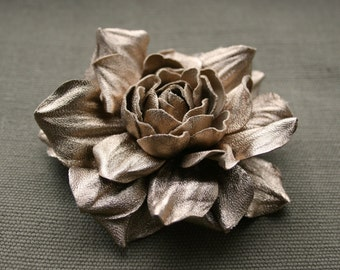 Gold colored Leather Rose Flower Brooch/Hair Clip