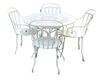 French Country Cafe Bistro Vintage Pre1960s Iron Metal Fermob Original Terrace Park Antique Cottage Parlor Dining Table & 4 Patio Chairs Set