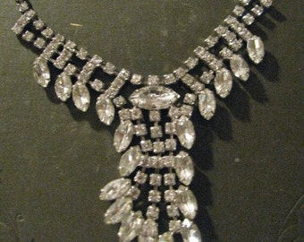 Art Deco Dripping Rhinestones Diagonal Drop STATEMENT Necklace Free USA Shipping and Tracking