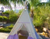Poetic Princess Teepee in Soft Grey and Lavender (Custom, Made to Order) -- Fort Tent Indoor Outdoor Play Photo Prop Tee Pee Playhouse