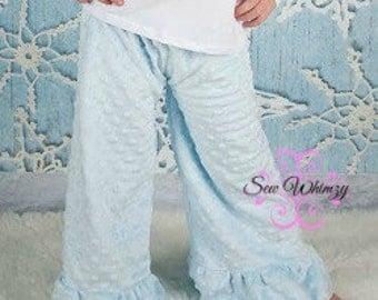 Add on matching minky ruffled pants- Minky pants- pajama pants