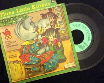 vintage Tunes ... the LITTLE KITTENS 45 RECORD in Sleeve ...