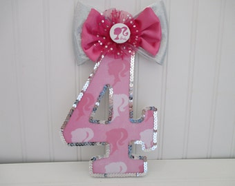 "BARBIE theme number, numeral - 18.00 per number, 8-1/2"", birthday party decorations and for monthly or yearly birthday pictures"