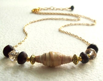 Rolled Birch Bark Necklace with Cawwa Natural Seed Beads and Crystals