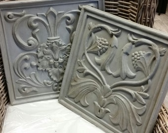 Pair of Wall Mounted Items - With a Concrete Grey Aged Finish.