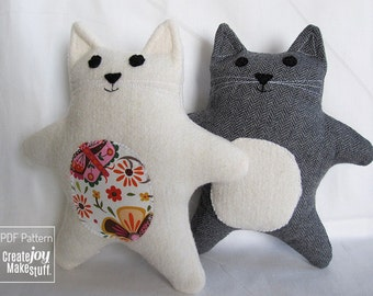 "7.5"" Cat Sewing Pattern & Tutorial - baby gift, PDF, easy, simple, kitten, cloth, fabric, plushie, softie, doll, stuffed, soft, toy, gift"