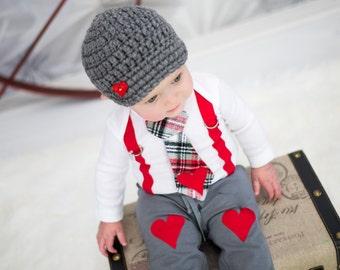 Valentine's Day Baby Boy Tie Suspender Bodysuit. Heart Button Hat. Heart Button Leg Warmers. Knee Heart Pants.  Baby 1st Valentine. XOXOXO