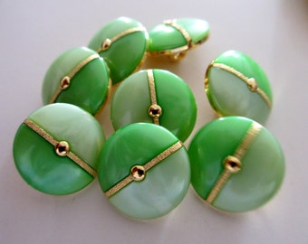 12 Vintage 20 mm 2 Tone Light and Dark Green Round Button with Gold Design