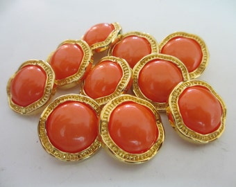 10 Vintage 23 mm Round Plastic Button with Pearly Darl Orange Tone Center and Unique Gold Tone Shaped Casing