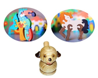 SALE 2 puzzles and whistle. Wooden Puzzle and Dog toy whistle.Handmade kids toy. Wood ecofriendly handmade toys for children