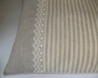 Pure linen bed pillow cover organic washed linen and lace striped grey ivory pillow case ready for ship 20''x 24''