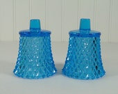 Candle Holder_Diamond Point_Turquoise_Sky Blue_Glass_Votive_Set of 2_Home Interiors_Pair_Candle Holder