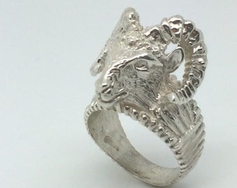 Ram Aries Ring - Sterling Silver Very Large Ring - Animal Jewelry
