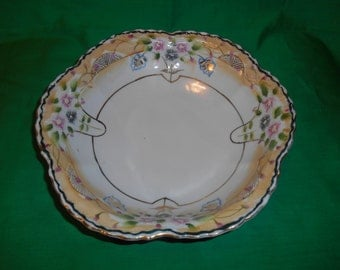 """One (1), Large, 10 1/8"""" Japanese Porcelain, Hand Painted, Moriage Decorated Bowl."""