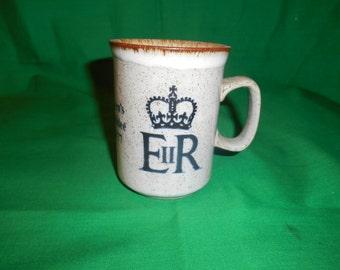 One (1), Queen's Silver Jubilee (1952-1977) Ceramic Mug, from Doonan Ceramics, Scotland.