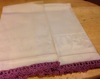Irish Linen Tea Towels with Purple Tatted Trim