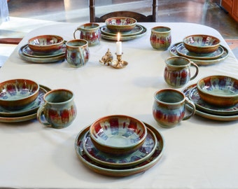 Custom Dinnerware set of dishes, 6 settings bowls, mugs, plates- 30 pieces