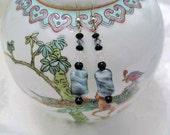 Blue Glass Earrings dangle & drop  swarovski crystal handcrafted