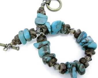 Turquoise Bead Bracelet semiprecious gemstone zebra jasper coco flower shell swarowski bronze crystal