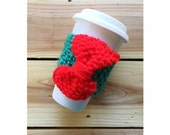 KNIT CUP COZY - Hand Knit Cup Cozy in Green with Red Knit Bow, Mug Sleeve, Knitted Mug Cozy, Reusable cup sleeve