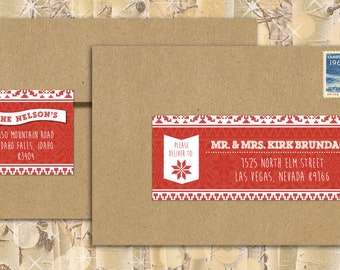 Custom Christmas Address Labels- Christmas sweater- knit, red, traditional, christmas, Scandinavian Personalized, Seasonal, Easy Labels