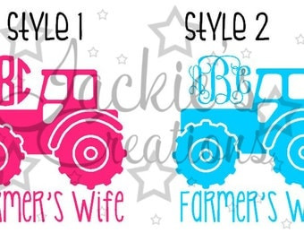 Farmer's Wife Monogram Decal