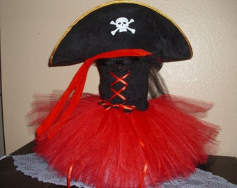 Pirate Girl Costume Flower Girl Tutu Dress with Hat