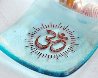 Blue Om Symbol Fused Glass Dish/Plate