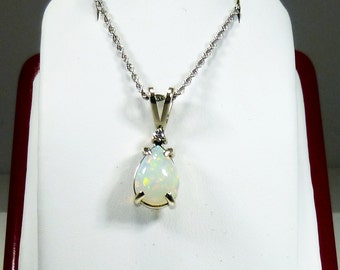Ladies, 14kt, White, Gold, Diamond, Opal, Pendant, and Necklace