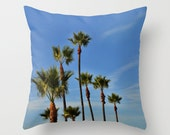 California palm trees and blue sky on a photo pillow cover