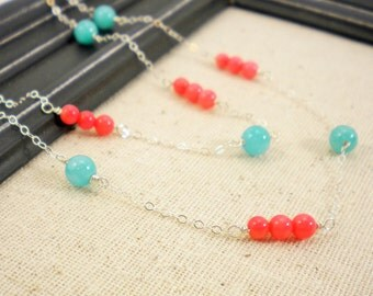 Pink Bamboo Coral and Turquoise Quartzite Sterling Silver Necklace / Simple Modern Jewelry / Long Necklace / Bright Tone